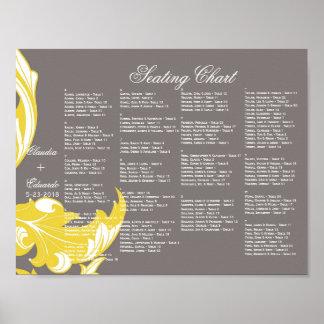 Elegant Dark & Classy Florals - Dark Gray, Yellow Poster