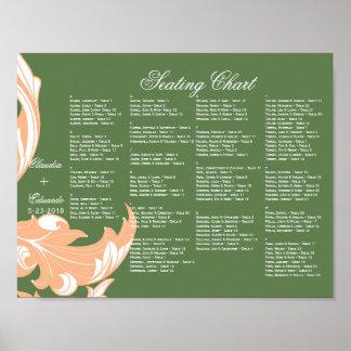 Elegant Dark & Classy Florals - Dark Green, Peach Poster