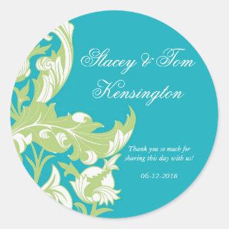 Elegant Dark & Classy Florals - Sky Blue, Green Classic Round Sticker