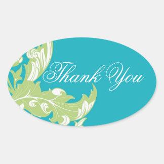 Elegant Dark & Classy Florals - Sky Blue, Green Oval Sticker