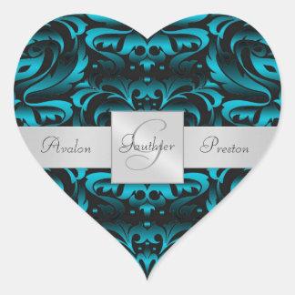 Elegant Dark Teal Damask Heart Wedding Sticker