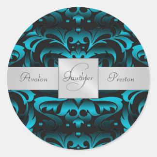 Elegant Dark Teal Damask Monogram Wedding Sticker