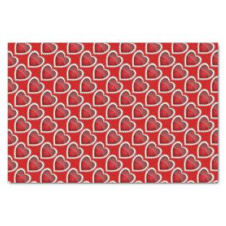 Elegant Deep Red Diamond Hearts Tissue Paper