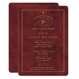 Elegant Deep Red & Gold Script 1st Holy Communion Card