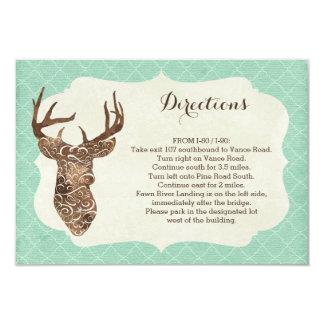 Elegant Deer Antlers Rustic Country Directions Card