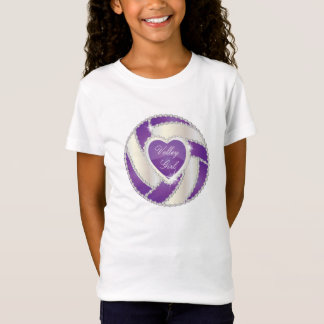 Elegant Diamond Heart Purple Volleyball T-Shirt