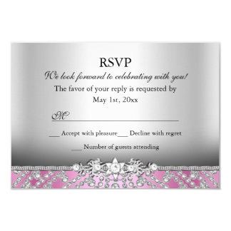 Elegant Diamond Pink RSVP Card
