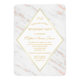 Elegant Diamond Rose Gold Marble Retirement Party Card