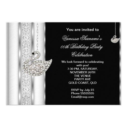 Elegant Diamond Swan White Silver Black Birthday Invitation