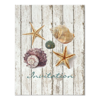elegant dock wood seashells beach wedding card