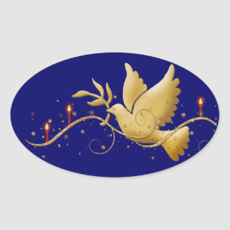 Elegant dove peace candles oval sticker