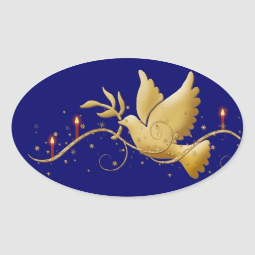 Elegant dove peace candles oval stickers