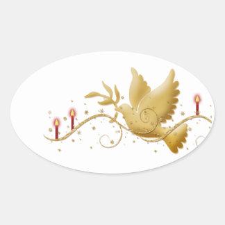Elegant dove peace gold white oval sticker