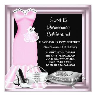 Elegant Dress Tiara Pink Quinceanera Card