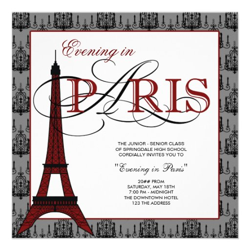 Elegant Eiffel Tower Paris Prom Personalized Invites