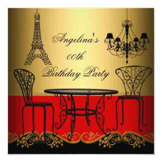 "Elegant Eiffel Tower Red Gold Paris Birthday Party 5.25"" Square Invitation Card"