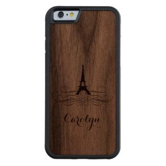 Elegant Eiffel Tower Wood iPhone Carved Walnut iPhone 6 Bumper Case
