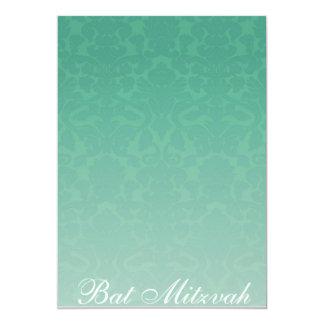 Elegant Emerald Damask Bat Mitzvah Invitation