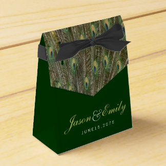 Elegant Emerald Green and Gold Peacock Wedding Favour Box