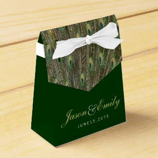 Elegant Emerald Green and Gold Peacock Wedding Party Favour Box