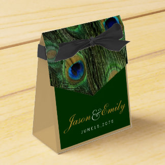 Elegant Emerald Green and Gold Peacock Wedding Wedding Favour Boxes