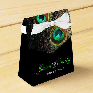 Elegant Emerald Green Peacock Wedding Favour Box