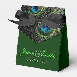 Elegant Emerald Green Peacock Wedding Favour Box