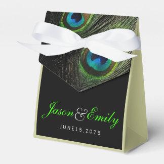 Elegant Emerald Green Peacock Wedding Party Favour Boxes