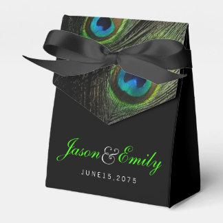 Elegant Emerald Green Peacock Wedding Wedding Favour Boxes