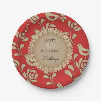 Elegant European Folk Art Birthday Paper Plate