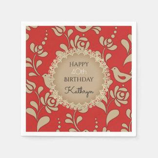 Elegant European Folk Art Birthday Paper Serviettes