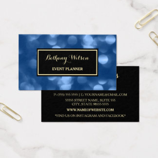 Elegant Event Planner Glamorous Blue Luxe Bokeh Business Card