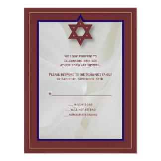 Elegant Fabric Bar Mitzvah Reply Card in Burgundy 11 Cm X 14 Cm Invitation Card