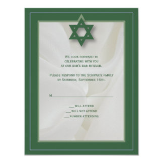 Elegant Fabric Bar Mitzvah Reply Card in Green 11 Cm X 14 Cm Invitation Card