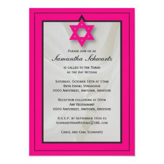 Elegant Fabric Bat Mitzvah Invitation in Pink