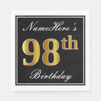 Elegant, Faux Gold 98th Birthday + Custom Name Disposable Napkin