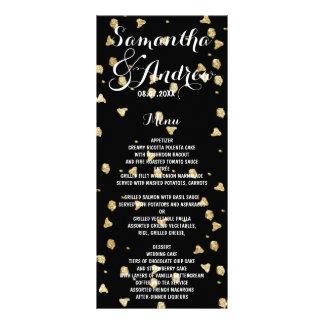 Elegant faux gold confetti wedding menu rack card design