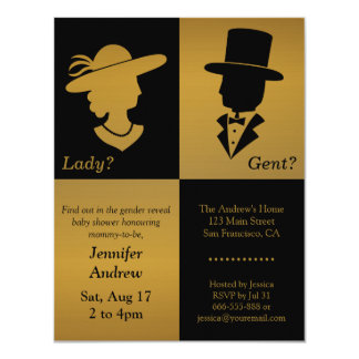 Elegant Faux Gold Design Black Gender Reveal Party 11 Cm X 14 Cm Invitation Card