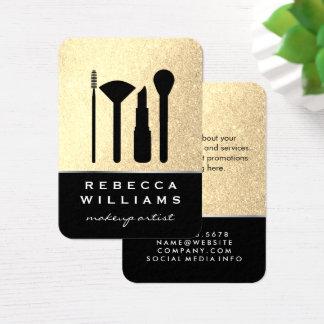 Elegant Faux Gold Glitter Makeup Set / Black Business Card