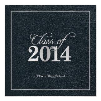 Elegant Faux Leather Class of 2014 Graduation Card