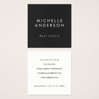 Elegant Faux Leather Texture (Loyalty Card) Square Business Card