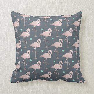 elegant faux rose gold flamingos mint polka dots cushion