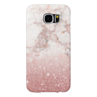 Elegant Faux Rose Gold Glitter White Marble Ombre