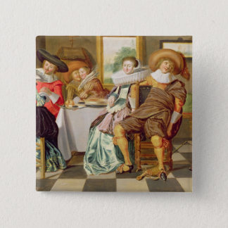 Elegant Figures Feasting at a Table 15 Cm Square Badge