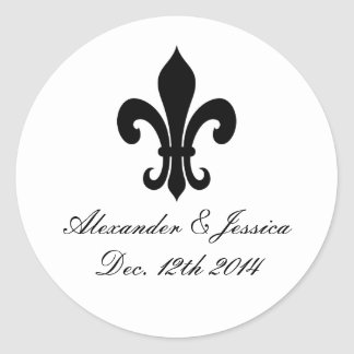 Elegant fleur de lis wedding stickers and labels