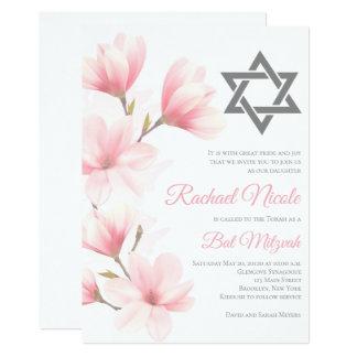 Elegant Floral Bat Mitzvah Invitation
