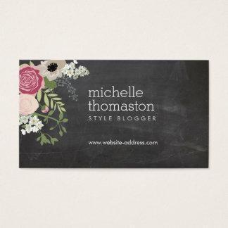 Elegant Floral Bouquet Chalkboard Crafter, Blogger Business Card