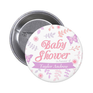 Elegant Floral Butterfly Baby Shower Party Favors 6 Cm Round Badge