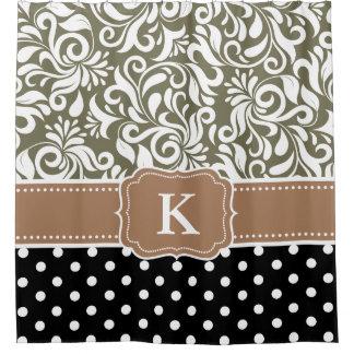 Elegant Floral Damask Polka Dots Tan Monogram Shower Curtain