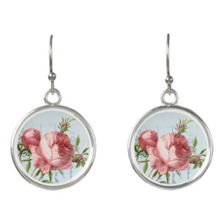 Elegant floral drop earrings w/ vintage rose
